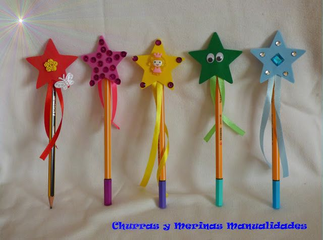 Churras y Merinas Manualidades: Varitas Mágicas de goma eva para decorar lápices. Pencil toppers