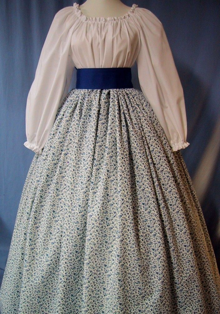 Costume Skirt - Pioneer SASS, Victorian Tea, Civil War Reenactment - Royal Blue Floral Scroll Cotton Print - Handmade.