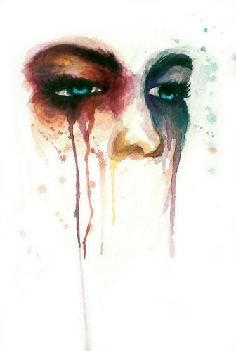 art, drawing, eyes, face, girl, makeup