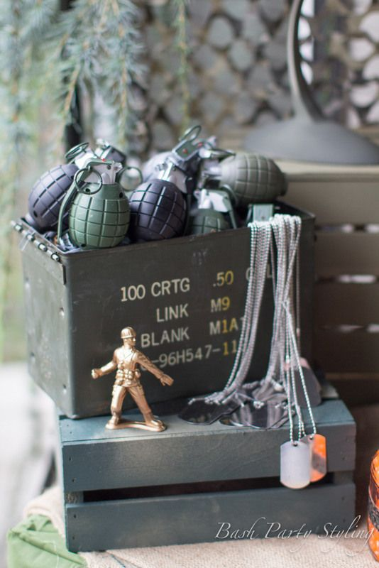 Grenade & Dog Tag Party Favors at a Nerf War Party #nerf #war #partyfavors www.facebook.com/BashCandyDessertBuffets