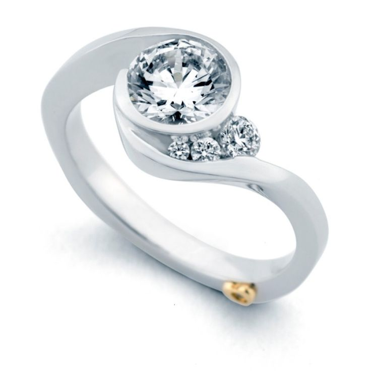 #168A 1CT - 14k white gold Escape 1.12cttw freeform bezel set round diamond engagement ring designed by Mark Schneider. This engagement ring design has a flowing shank that transitions into a bezel he