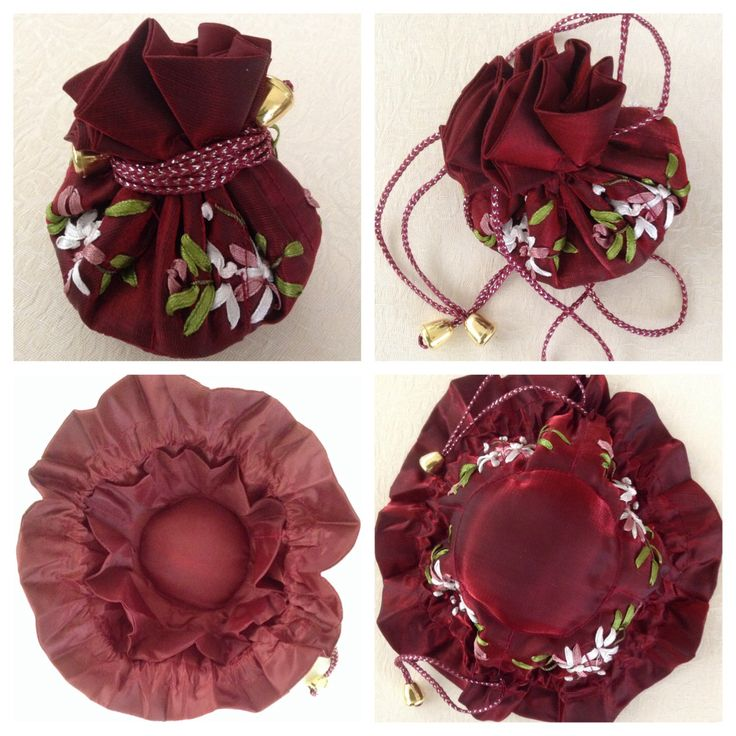 Ribbon-embroidered jewellery pull string pouch - ROYAL RED. Has 8 internal side pockets for fine necklaces or chains, earrings & rings. The central compartment is for bangles, bracelets & larger pendant necklaces @ AUD$10.00 + postage or local pick up available.