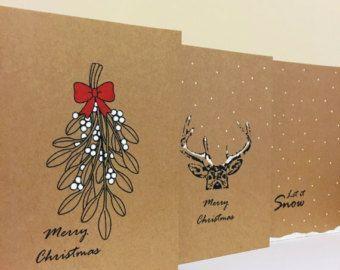 Hirsch Weihnachtskarte schneit Hirsch Karte von Je…