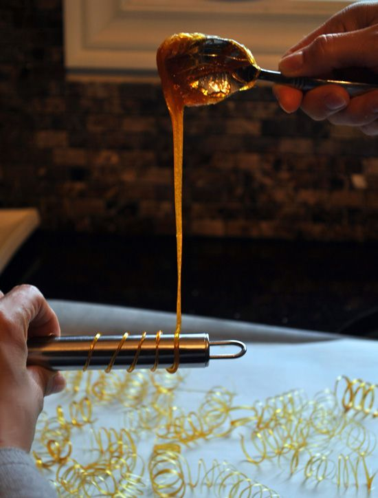 How to make caramel spirals. How fun and what a great way to make a dessert look super classy.