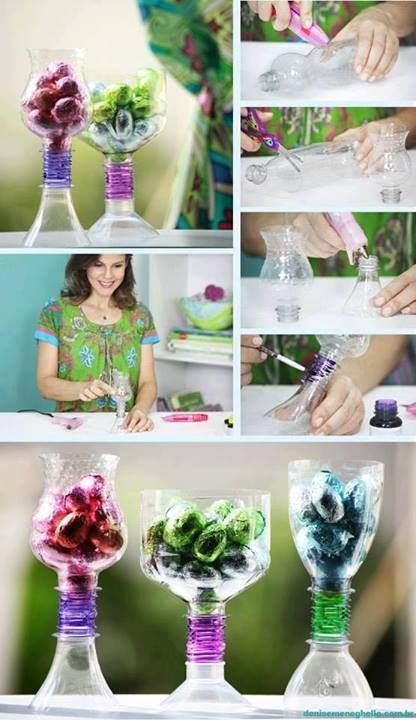 153 best images about plastic container crafts on for Water bottle recycling ideas