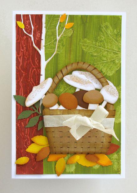 VyZa. Škrobové barvy. Card. Autum. Fall. Mushrooms in basket.  Starch powder colours.