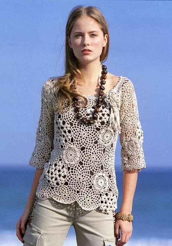 Crochetemoda: Blusa bege de Crochet