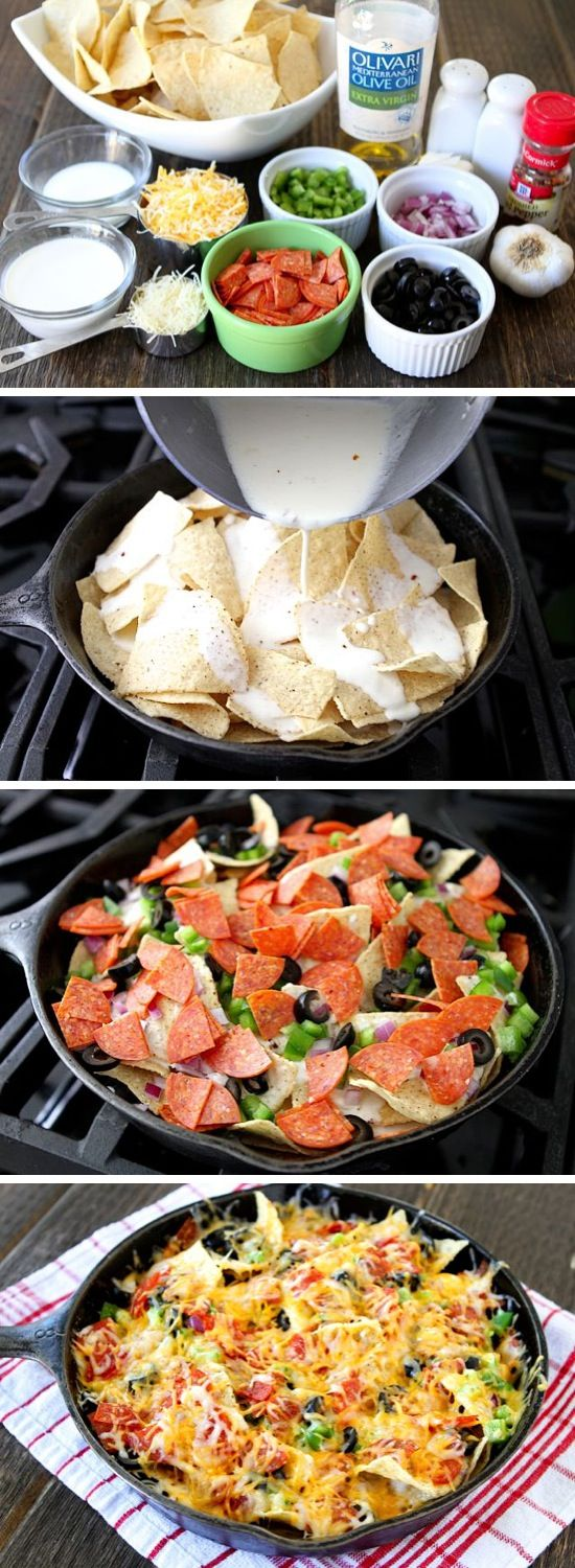 Pizza Nachos ~ This is basically like a bunch of mini extra crispy pizzas all baked together in one big heaping pile of yumminess. Once you've got all of your ingredients piled up, all you have to do is wait for it to bake in the oven