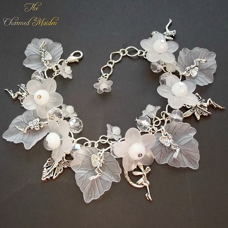 Winter Fairy Charm armband Flower Fairy bedelarmband witte