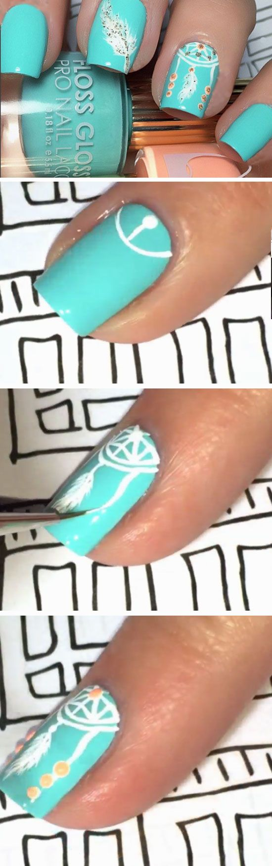 Dream Catcher | Click Pic for 22 Easy Spring Nail Designs for Short Nails 2016 | Awesome Nail Art Tutorials for Beginners