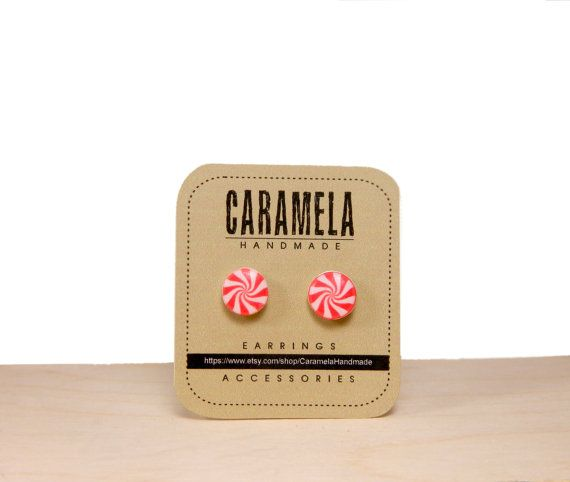 Peppermint Candy Earrings red White Peppermint by CaramelaHandmade