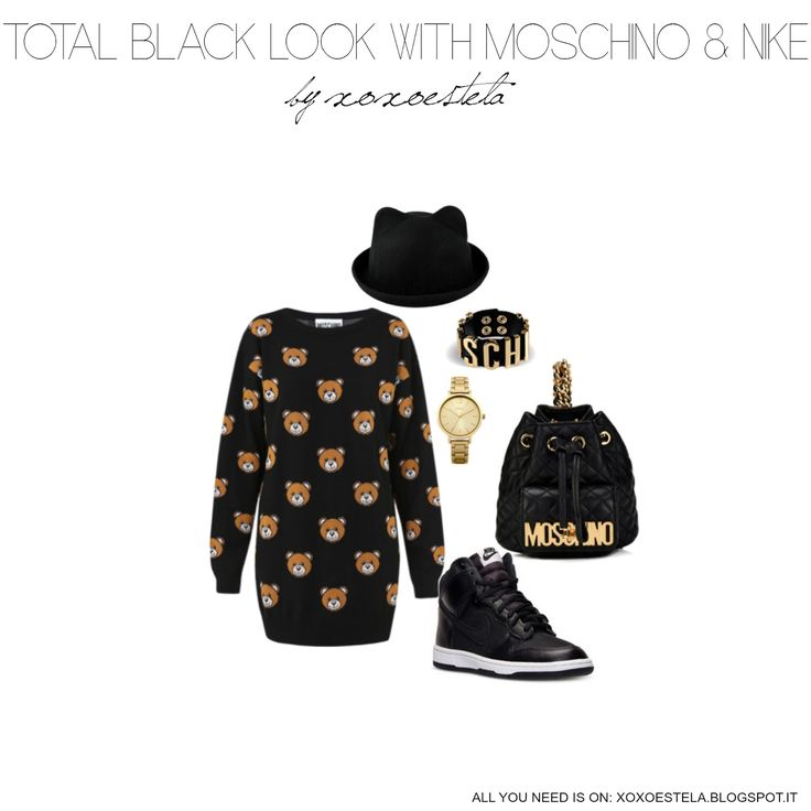 XOXOESTELA: TOTAL BLACK LOOK WITH MOSCHINO AND NIKE