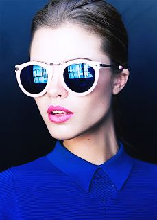 sunglasses + cobalt blue #fashion #style #trend. Cobalt great with navy, bubblegum, skin tones and soft pink.