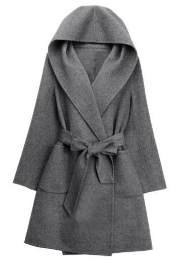 Hooded wool coat double coat