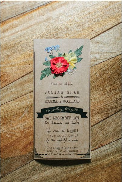 Handmade Pressed Flower Wedding Invitations