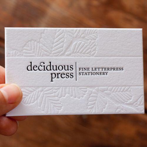 debossed business card