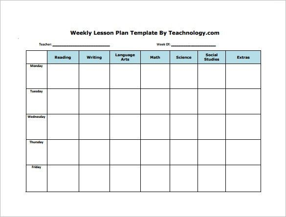 Monthly Lesson Plan Template Pdf New Weekly Lesson Plan Template