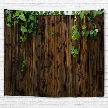 Philodendron Scandens Wooden Board Printed Wall Tapestry - DUN W79 INCH * L59 INCH