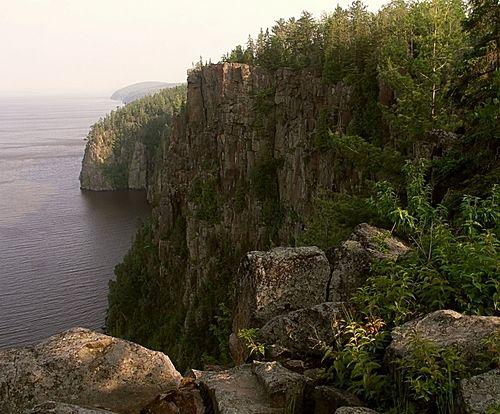 Devils Rock a short walk from camp along the shores of Lake Temiskaming
