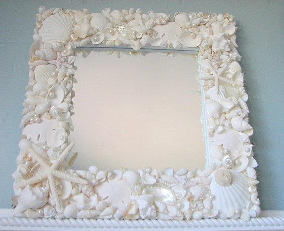 Beach Decor Seashell Mirror Nautical Decor by beachgrasscottage, $295.00