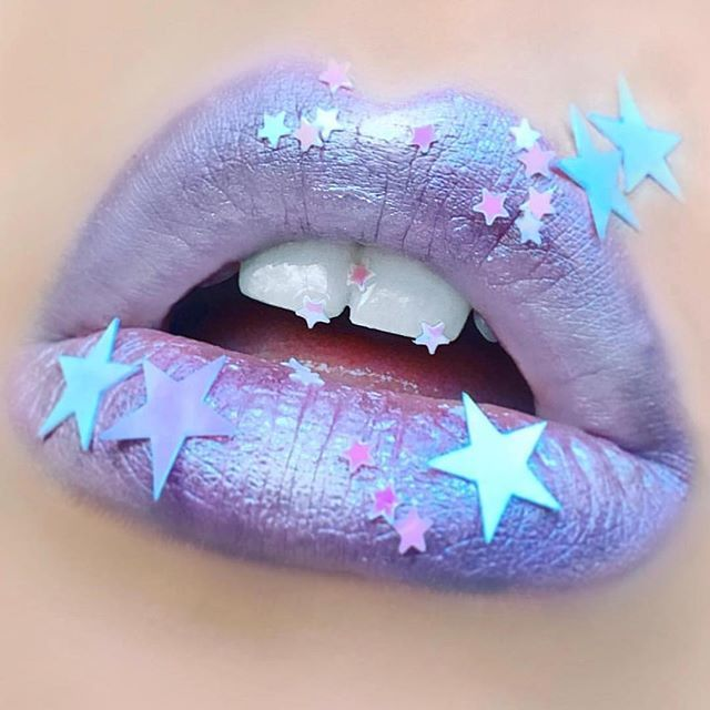 Sea witch lip art Using #MetallicVelvetines SEASHELL BRA, MERMAID'S GROTTO, and MERCURY by @katytolj.