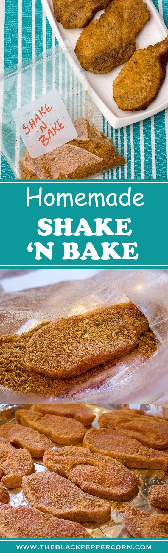 Homemade Shake n Bake - Great for chicken and pork ~ Classic crispy oven baked shake n bake copycat recipe of the Kraft original. Perfect for pork chops and chicken legs, breasts and more. Bread crumbs, oil, salt, pepper, garlic, onions