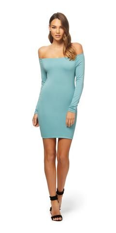 The Favella Dress is made from a 65% Viscose and 35% Nylon (main). The Favella Dress is a fitted dress in a knitted ribbed fabrication that sits off the shoulde