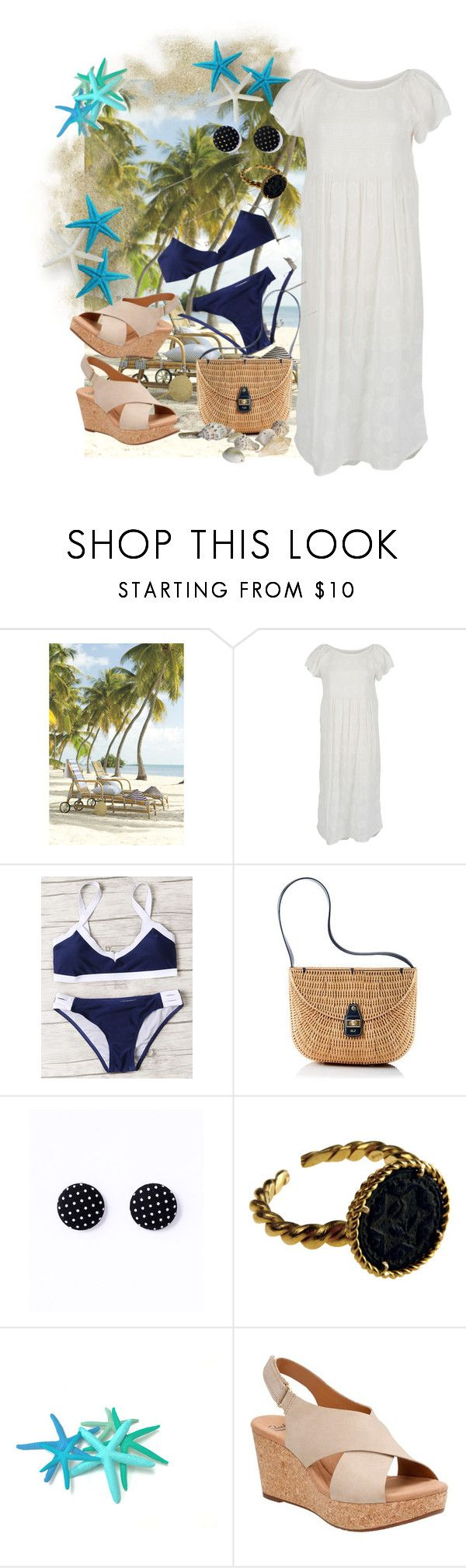 """navy at the beach"" by jubee22 ❤ liked on Polyvore featuring Velvet by Graham & Spencer, Mark & Graham and Clarks"