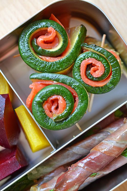 Salmon and Zucchini Roll-ups These protein-and-veggie roll-ups are a breeze to assemble. Just slice the smoked salmon to be the same size as the broiled zucchini slices, and roll 'em up. Paleo Lunchboxes 2014 (Part 3 of 7) by Michelle Tam http://nomnompaleo.com