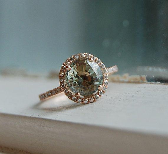 Diamonds & aquamarine engagement ring wedding ring