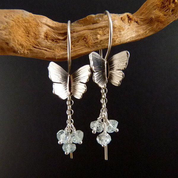 Blue Butterfly Sterling Silver Earrings Handmade Metalwork by elfi74 on Etsy https://www.etsy.com/listing/218589253/blue-butterfly-sterling-silver-earrings