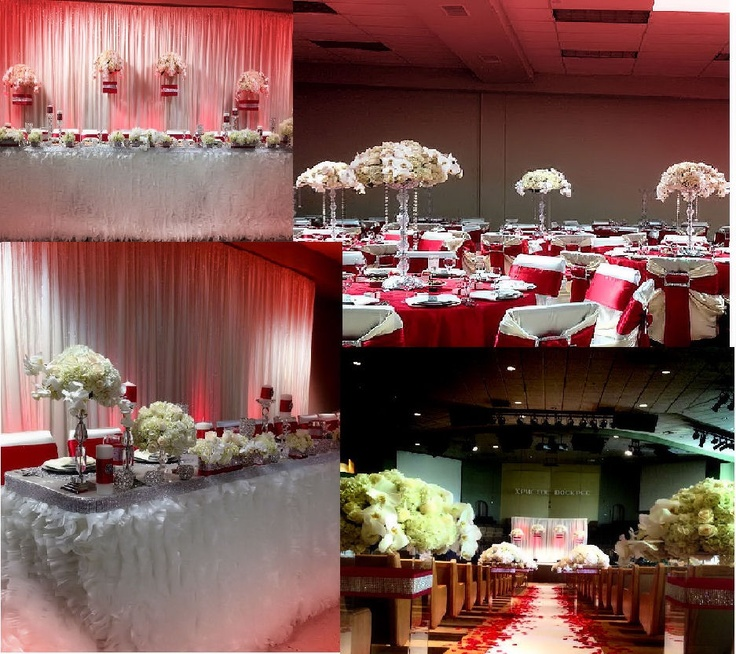 Red and ivory wedding decor