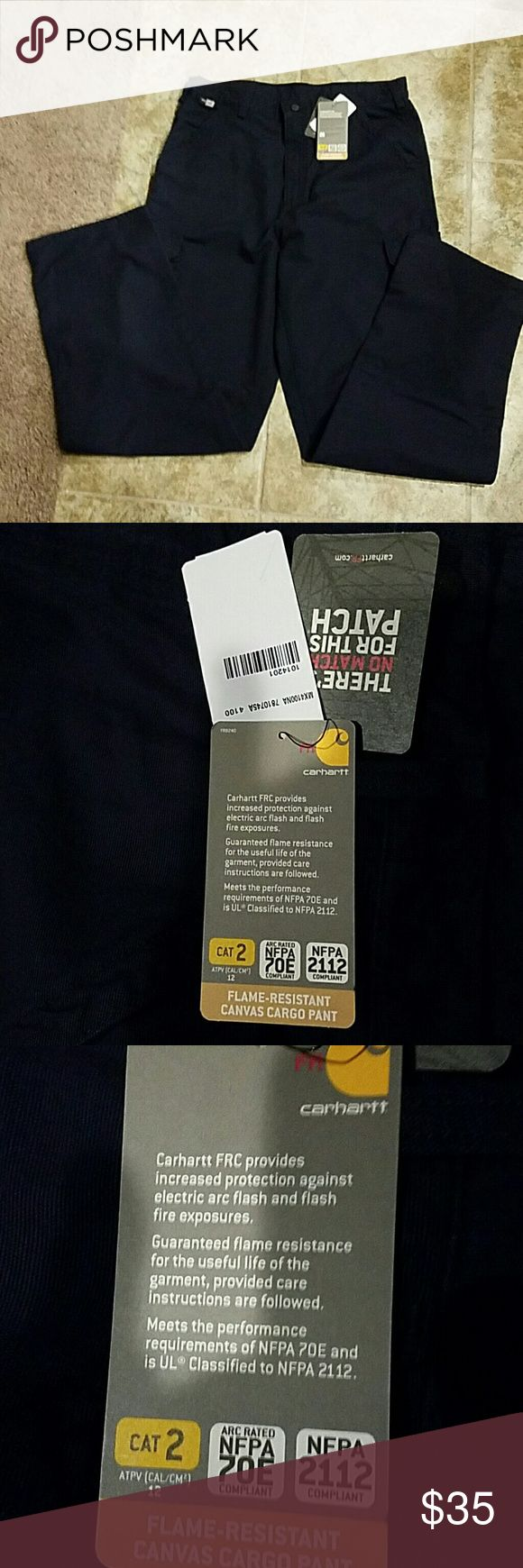 NWT Carhartt cargo pants NWT Dark blue Carhartt fire resistant canvas cargo pants. RN# 14808. Size 36 x 34. ...2 front pockets, 2 back pockets, & 2 cargo pockets with metal snaps. Carhartt Pants Cargo