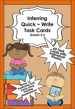 Task Cards use picture scenes for developing inference skills in children. An answer to a Task Cards depends upon a child's prior knowledge and understandings and often there are more then one possibility for each picture. The task cards can be used in multiple ways >Work stations  >Quick write sessions  >Developing oral language in children, either as a class group or individually.