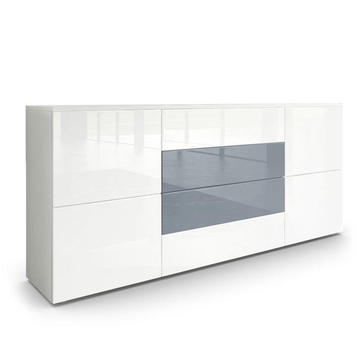 Sideboard Rova. Hochglanzfronten und unauffällige PTO-Elemente machen das zeitlose Design dieser Kommode aus.  vladon.de
