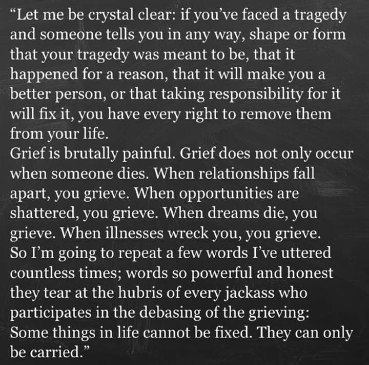 Death, divorce, escape from abuse... Etc. Grief explained.