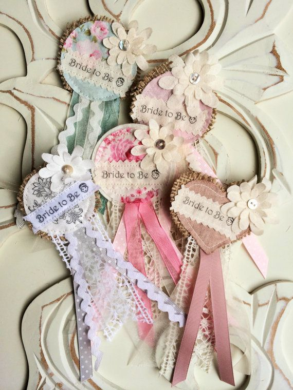 Handmade Set of 1 Bride to Be Rosette and 5 Hen by SewAnSewCrafts