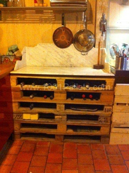 Casier Range Bouteilles & Support Pour Marbre De Pâtisserie / Pallet Wine Rack