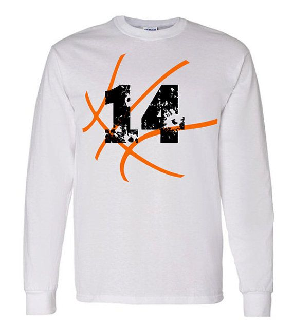 Basketball with Number Long Sleeve Shirt by VinylDezignz on Etsy