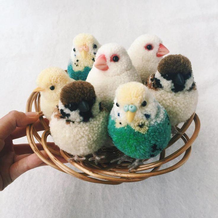 Pom Pom BIrds by Tsubasa Kuroda~Kits and a how to book on making various animals (in Japanese only) are available via her website. http://www.seibundo-shinkosha.net/pickup/ponpon/