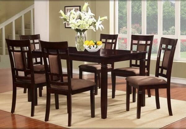 7 Pc Solid Wood Dining Table Set, Cherry Finish