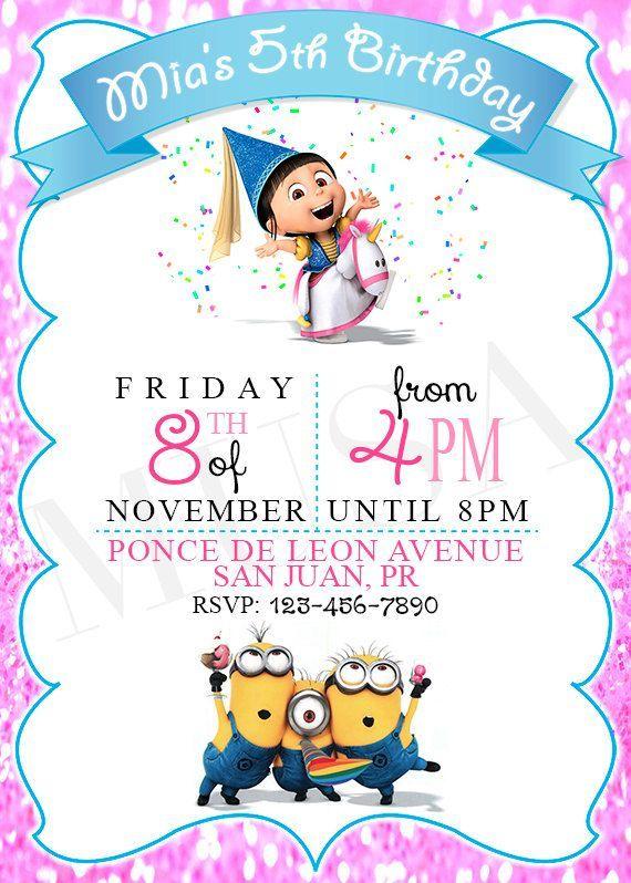 girl minion invitation template free - Buscar con Google