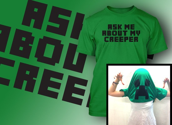 minecraft creeper tshirt ask me about my flip up t by