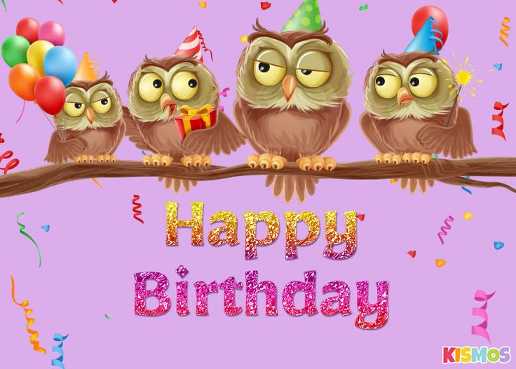 Happy birthday card cute owls to download and print or to share online via facebook. kismos free printable birthday invitations and birthday cards.