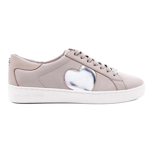 MICHAEL MICHAEL KORS Women's Keaton Heart Leather Trainers - Cement (9.165 RUB) ❤ liked on Polyvore featuring shoes, sneakers, nude, heart sneakers, leather lace up shoes, low profile sneakers, lacing sneakers and leather sneakers