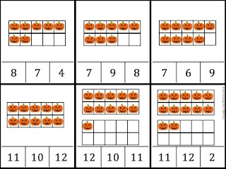 Halloween ten frames clip it game {use a clothespin for fin motor skills to clip on the answer}