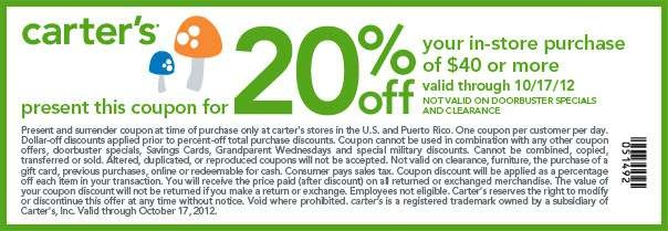 20% off $40 or more Use Carters Coupon code CARPRABA3 [Exp. 12/31] In-store Printable Carters Coupon [Exp. 10/17]