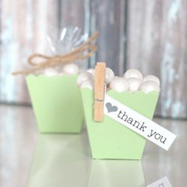 Green Mini Scallop Favor Boxes