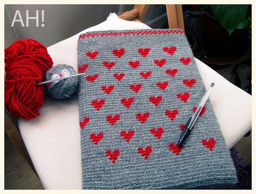 crochet hearts tapestry