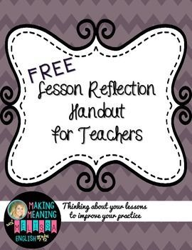 Lesson Reflection for Teachers - Reflecting on your teaching practice is the best way to grow as an educator. Use this FREE handout to help you look back at your lesson, decide what worked best, and learn and grow from there. Great for teachers are ANY level to work on their own professional development. {freebie, elementary, middle school, high school, staff, leadership, mentoring, teacher growth}